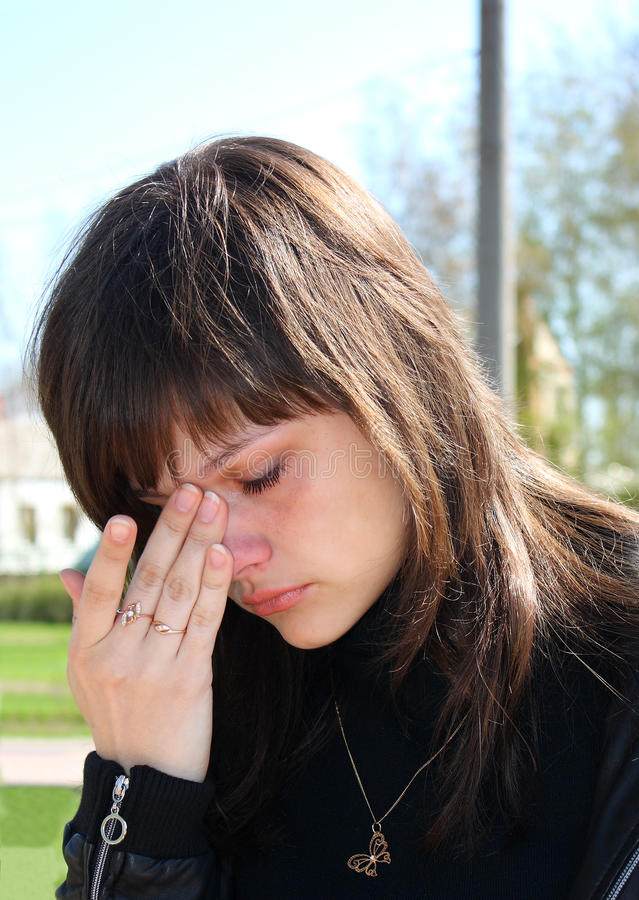 The Young Beautiful Girl Crying. Stock Images