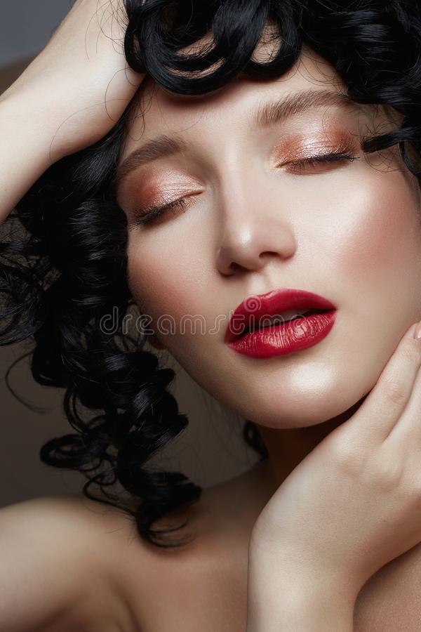 Young beautiful Girl face. Beauty French woman royalty free stock photos