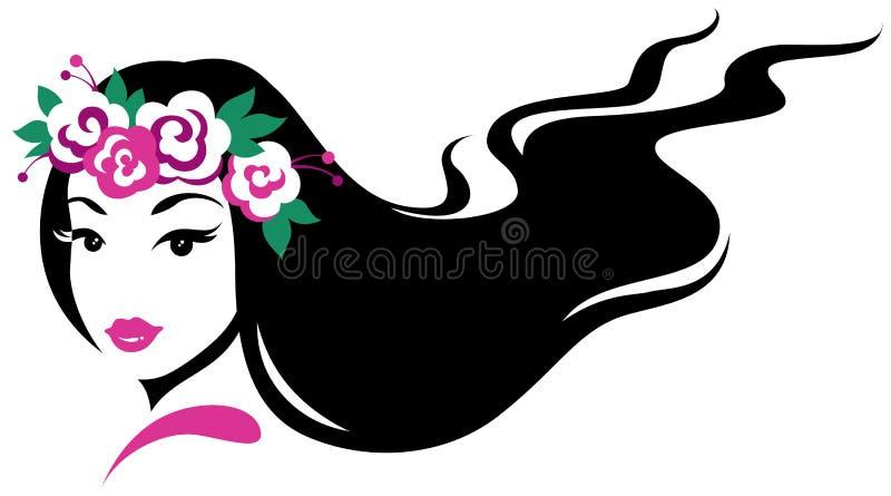 Girl in wreath of flowers stock illustration