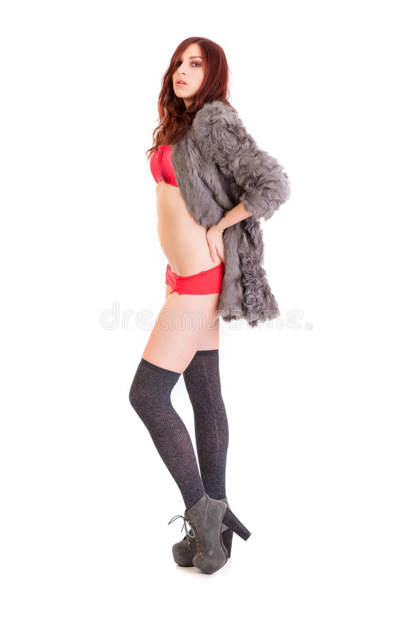 The young beautiful girl in a fur coat stock image