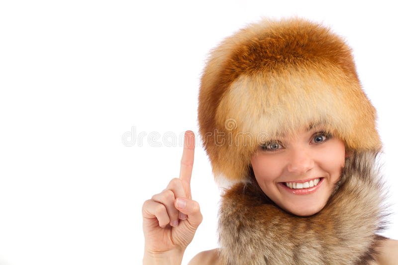 Download Young Beautiful Girl In Fur Hat Stock Image - Image of cold, portrait: 26824979