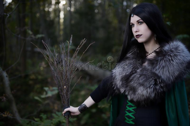 Young beautiful girl in green raincoat, looks as witch on Halloween in forest stock image