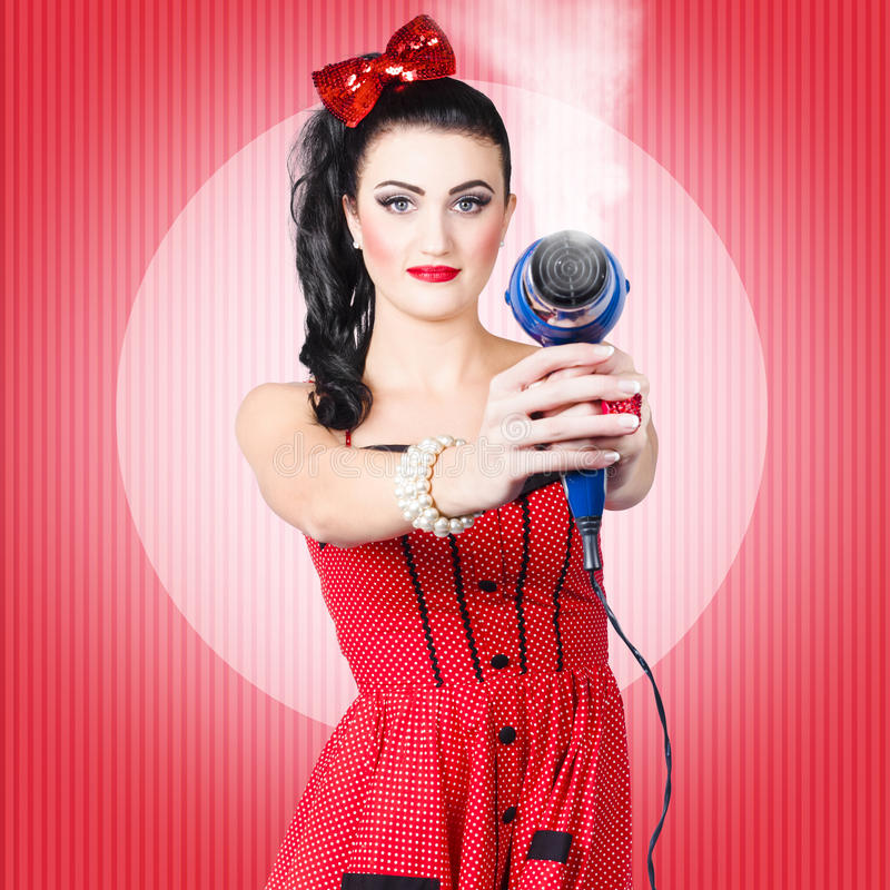 Pin Up Girl Face Portraits: Young Beautiful Girl With Hairdryer. Hair Care Stock