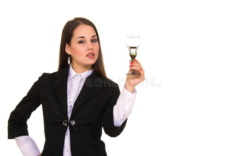 Young beautiful girl holding glass royalty free stock images