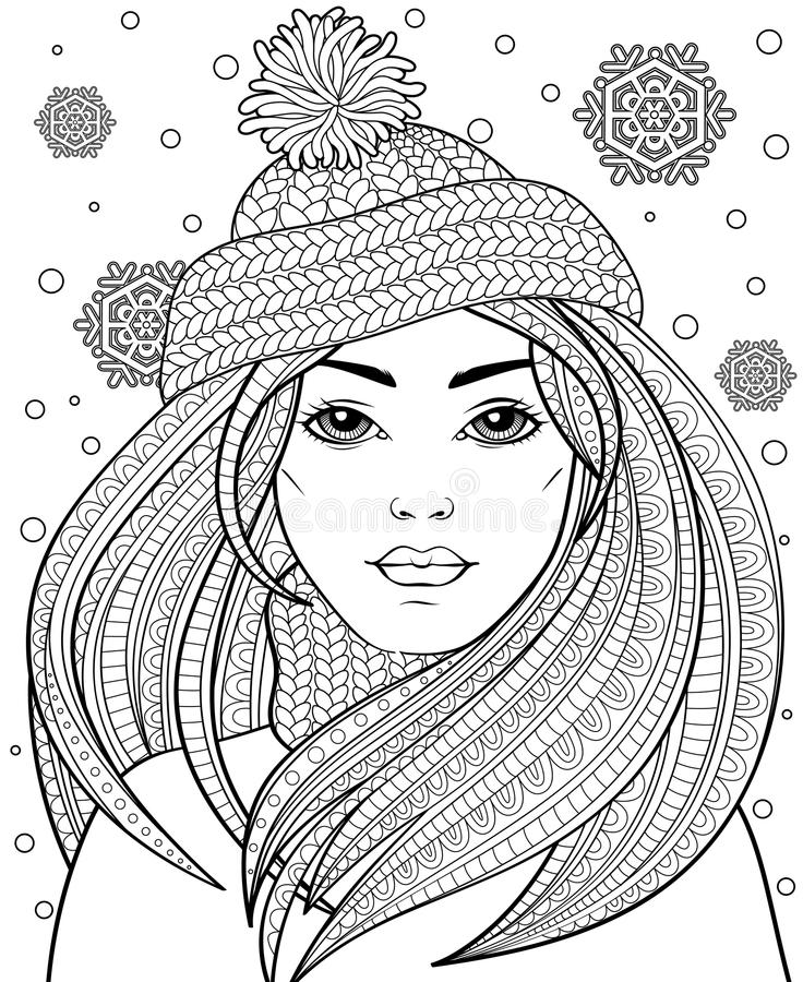 Young beautiful girl with long hair in knitted hat. Tattoo or adult antistress coloring page. Black and white hand drawn doodle fo stock illustration