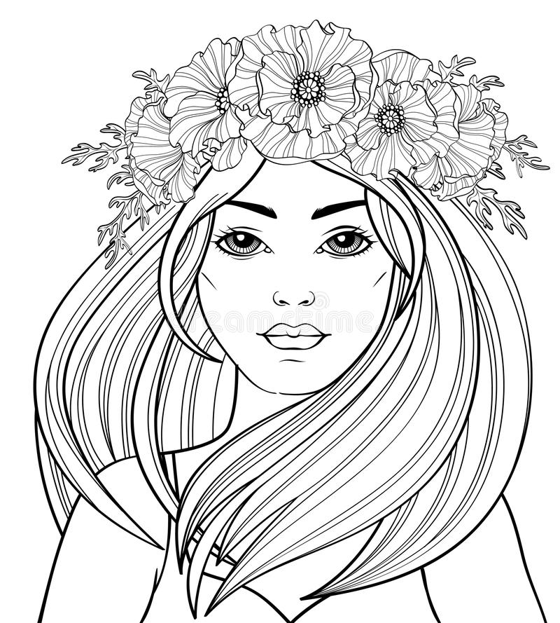Young beautiful girl with long hair in poppy wreath. Tattoo or adult antistress coloring page. Black and white hand drawn doodle f stock illustration