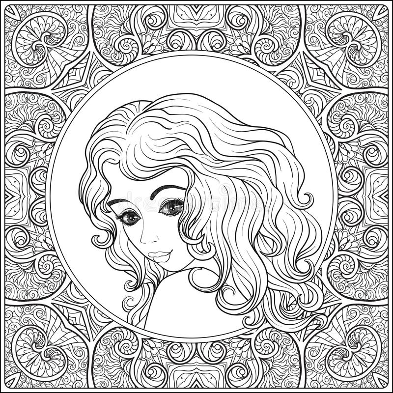 A young beautiful girl. Portrait on a background of a pattern. royalty free illustration