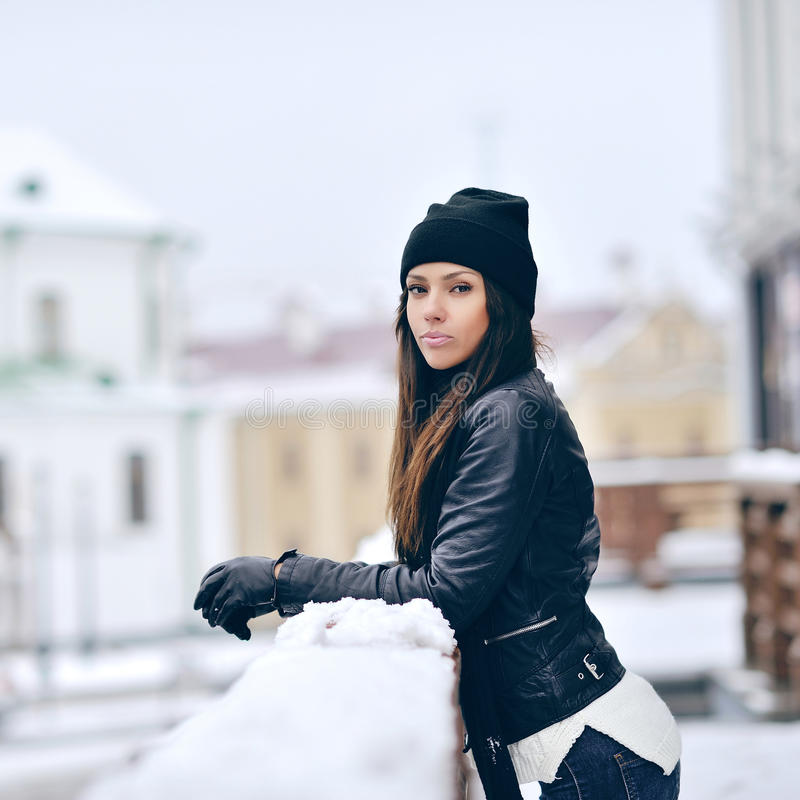Young beautiful girl portrait in winter - outdoor.  royalty free stock photos