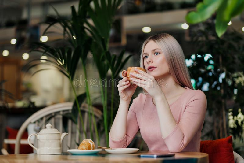 Young beautiful girl sitting in a green cafe at a table. Drinking tea with croissants, chatting, laughing and taking royalty free stock images