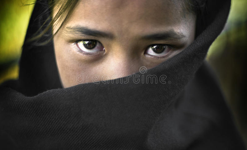 Young beautiful girl from Stakmo village. India stock photo