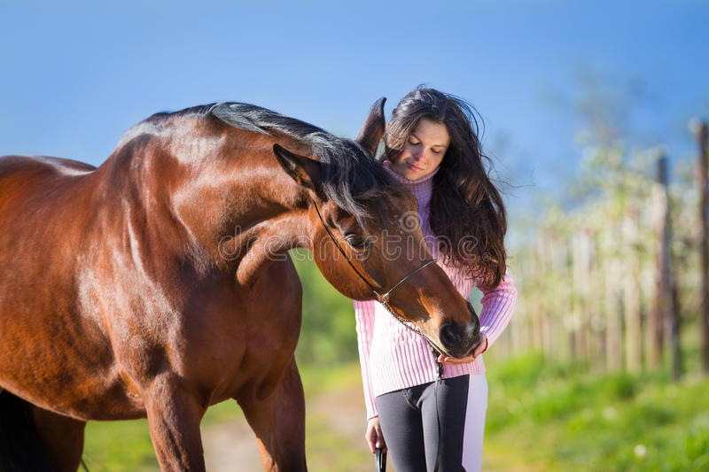 Young beautiful girl standing with a horse in field. Young beautiful girl standing with a bay horse in field - portrait stock images