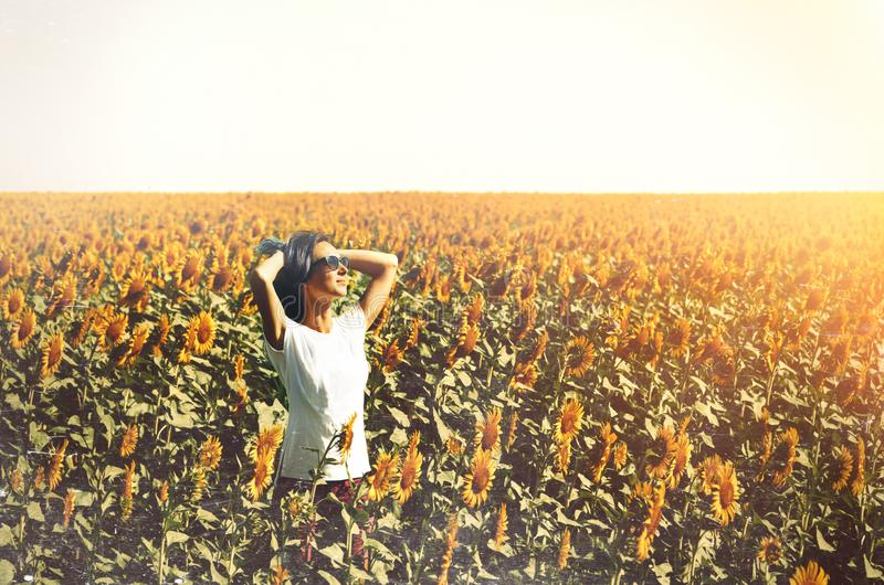 Young Beautiful Girl Standing In Sunflowers And Raising Hands Up. Freedom Lifestyle Journey Concept. Young beautiful girl in sunglasses stands in field with stock images