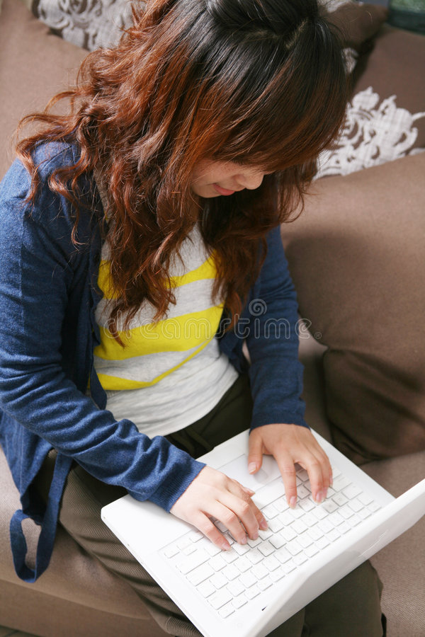 Download Young Beautiful Girl Use Pc Stock Image - Image: 8471393
