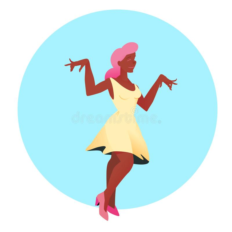 Young beautiful girl in white dress and pink hair dances. Vector illustration. People on circular background in flat style. vector illustration