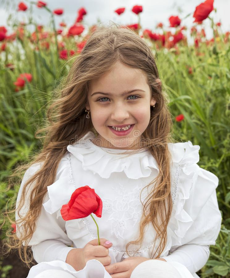 Young Beautiful girl in white dress sitting in poppy field and holding red flower stock photos