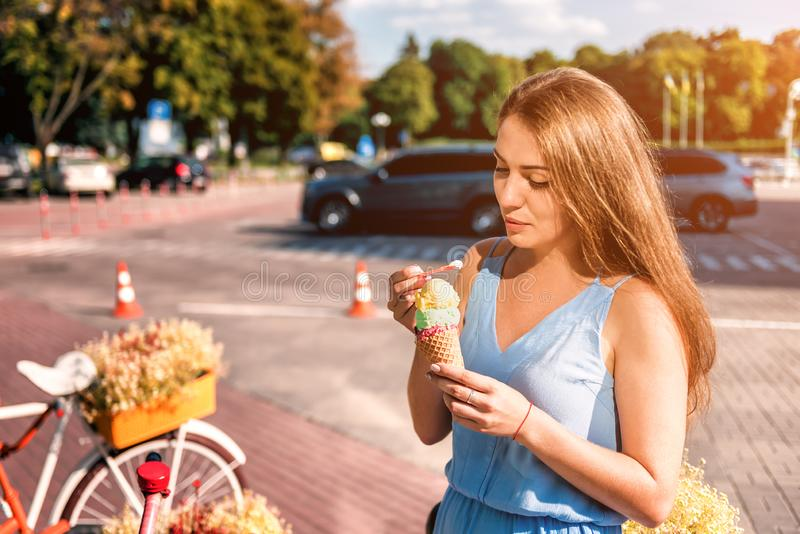Young beautiful girl wit icecream. Portrait of young beautiful girl wit icecream stock photography