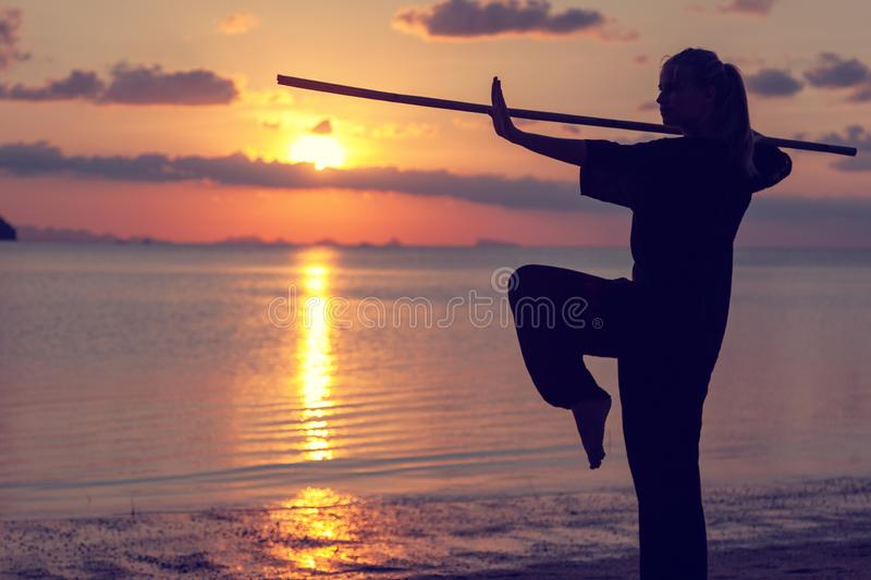 Young beautiful girl woman blond doing kung fu with bamboo stick on the seashore at sunset, fight. Young beautiful girl woman blond doing kung fu with bamboo royalty free stock photography
