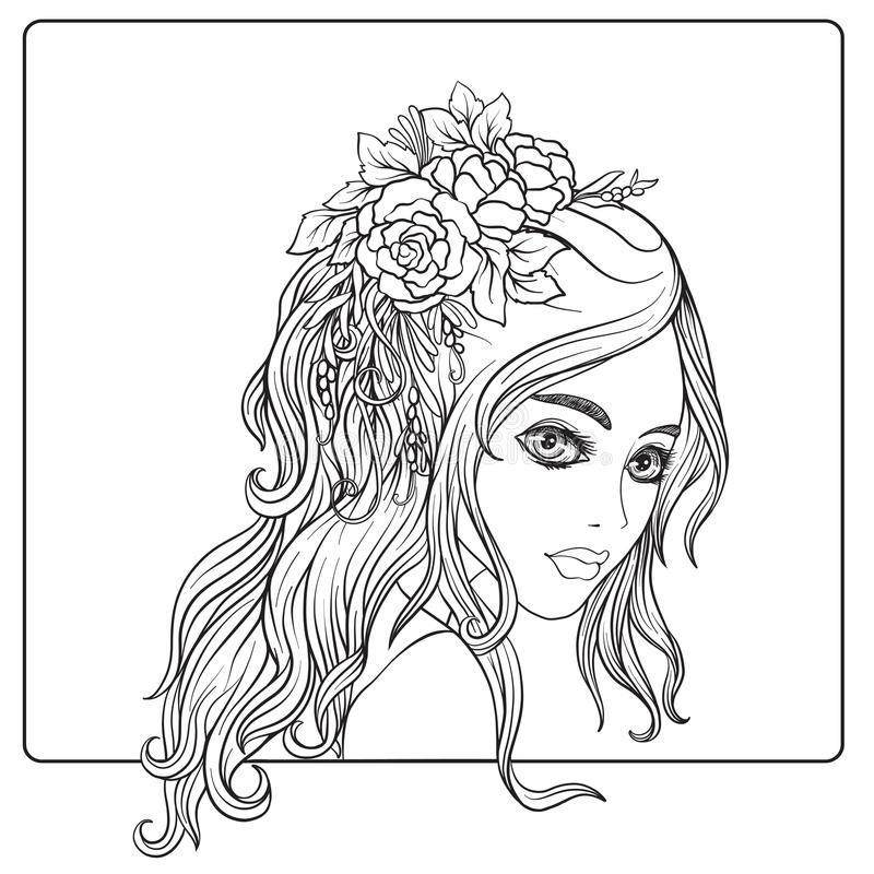A young beautiful girl with a wreath of flowers on her head. vector illustration