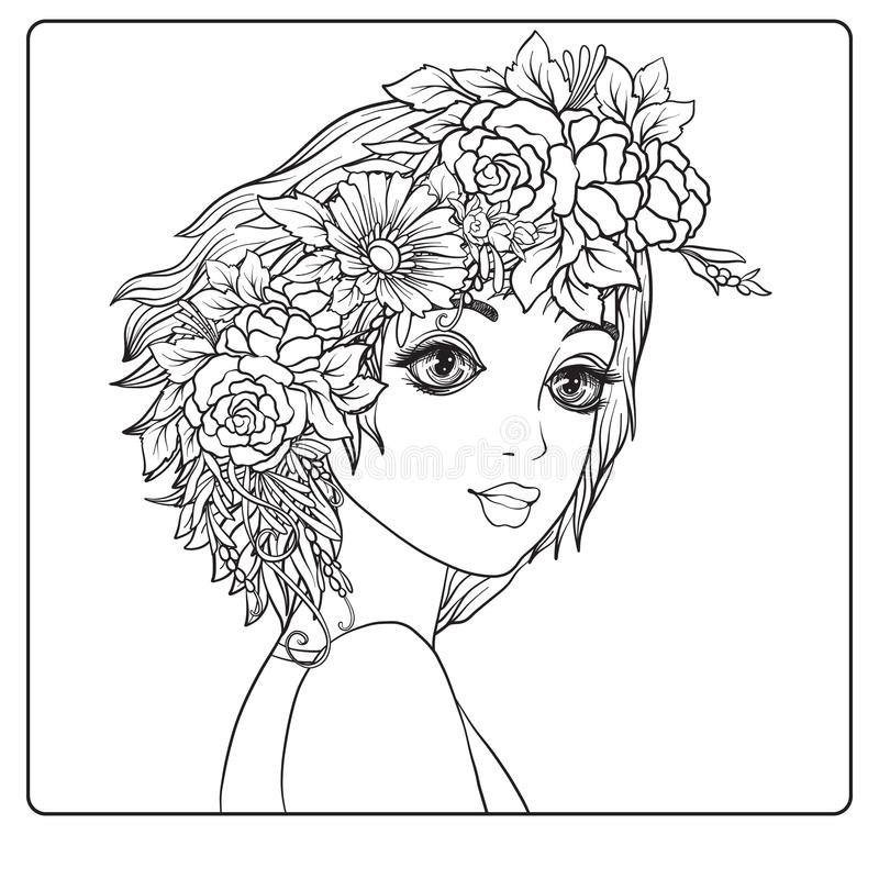 A young beautiful girl with a wreath of flowers on her head. royalty free illustration