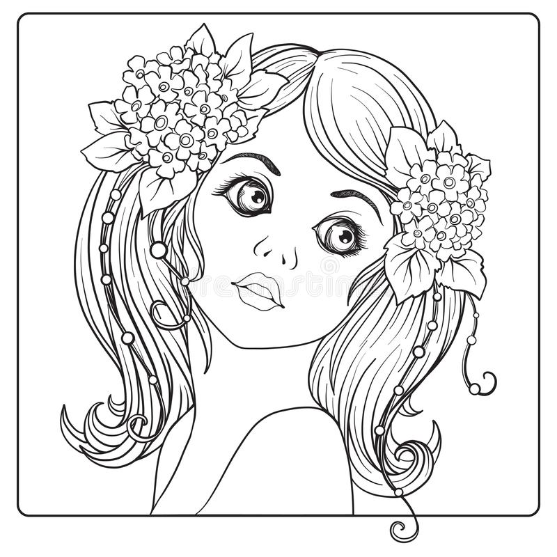 A young beautiful girl with a wreath of flowers on her head. stock illustration
