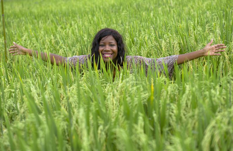 Young beautiful and happy black afro American woman in cool dress having fun at tropical rice field enjoying exotic holidays trip. Outdoors fresh portrait of stock photos