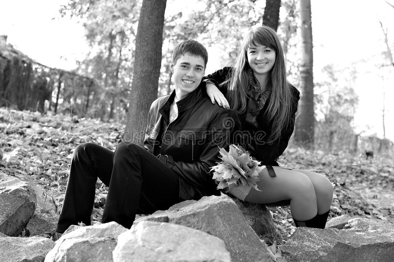 Young beautiful happy couple in love in outdoors stock image
