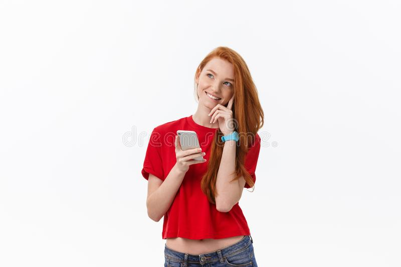 Young beautiful happy woman using smart phone. stock images