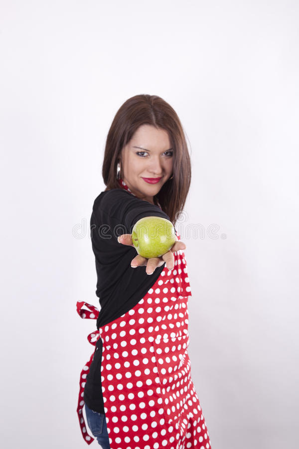 Download Young Beautiful Housewife Holding Apple Stock Photo - Image: 24103020