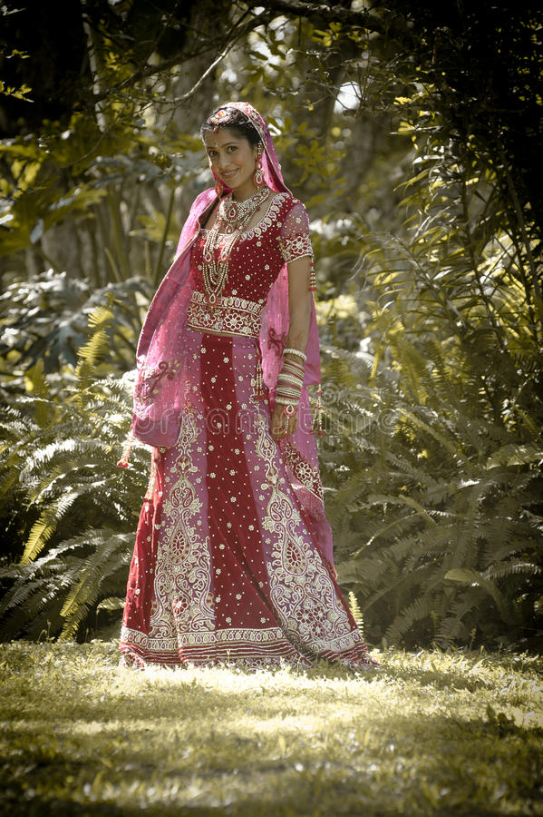 Young beautiful Indian Hindu bride standing under tree royalty free stock images