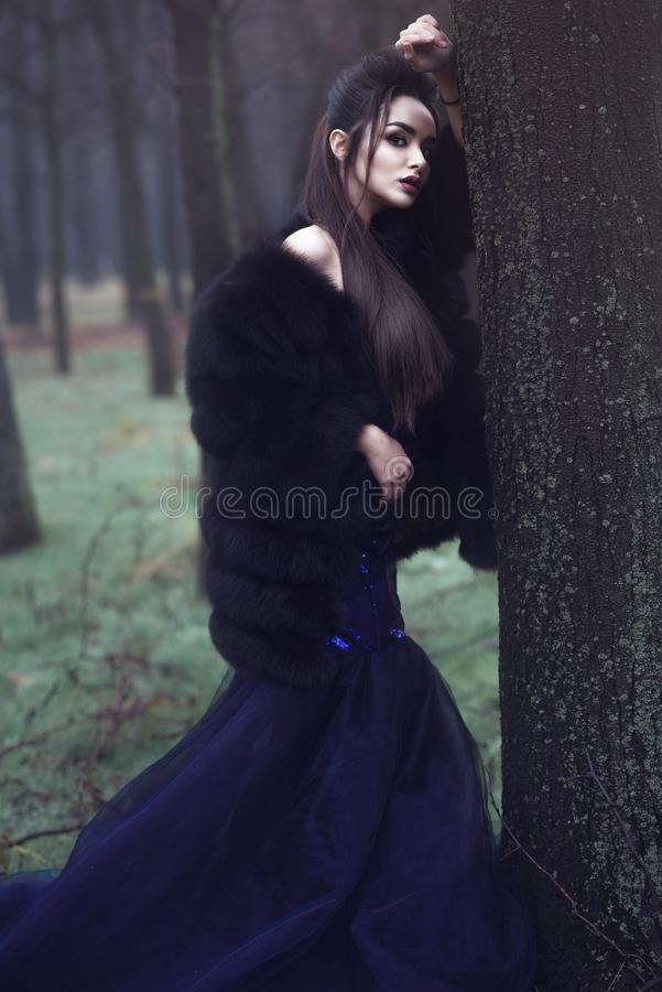 Beautiful lady in luxurious sequin evening dress and sable fur coat standing in the mysterious misty woods. Young beautiful lady in luxurious sequin evening royalty free stock image