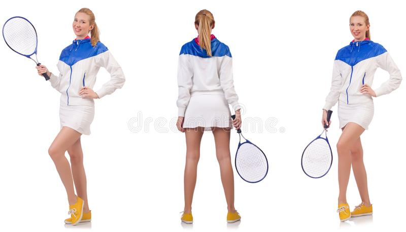 Young beautiful lady playing tennis isolated on white stock images