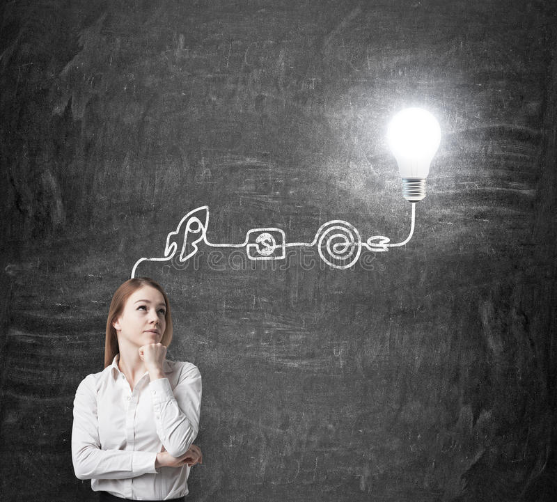A young beautiful lady is thinking about the process of developing a new business idea. A flowchart is drawn on the black chalkboa royalty free stock photography