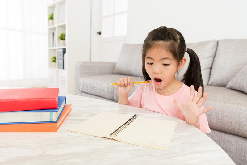 Beautiful little girl preparing back to school stock images