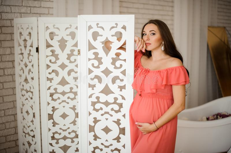 Young and beautiful pregnant woman in long dress stock photo