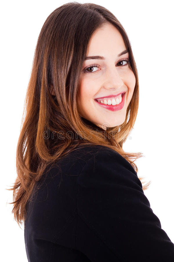 Young beautiful model smiling side pose stock photo