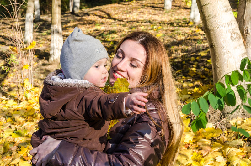 Young beautiful mother playing with her daughter, who is biting mother's nose, in the autumn park among the yellow fallen maple le. Aves royalty free stock photos