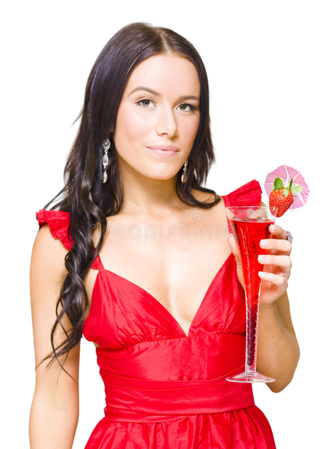 Young Beautiful Party Girl Holding Cocktail Stock Photo