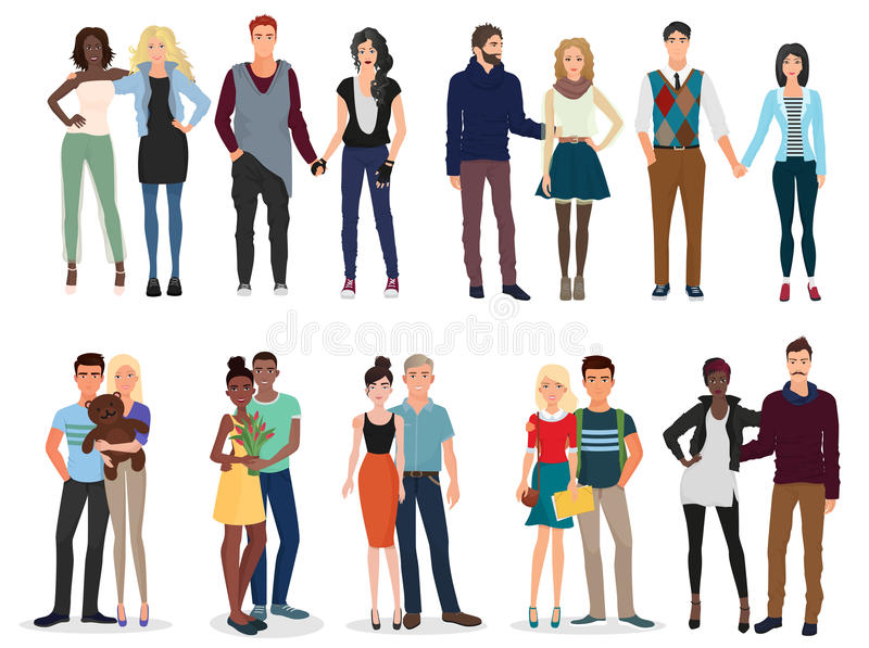 Young beautiful people couples collection set. vector illustration