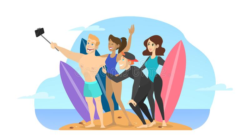 Young beautiful people make selfie on the beach vector illustration