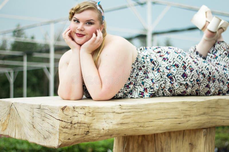 Plus size model black bra xxl woman Young beautiful busty curv royalty free stock photos