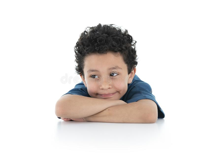 Young Beautiful Portrait of a Bored Boy Looking Away Isolated on White Background stock photography