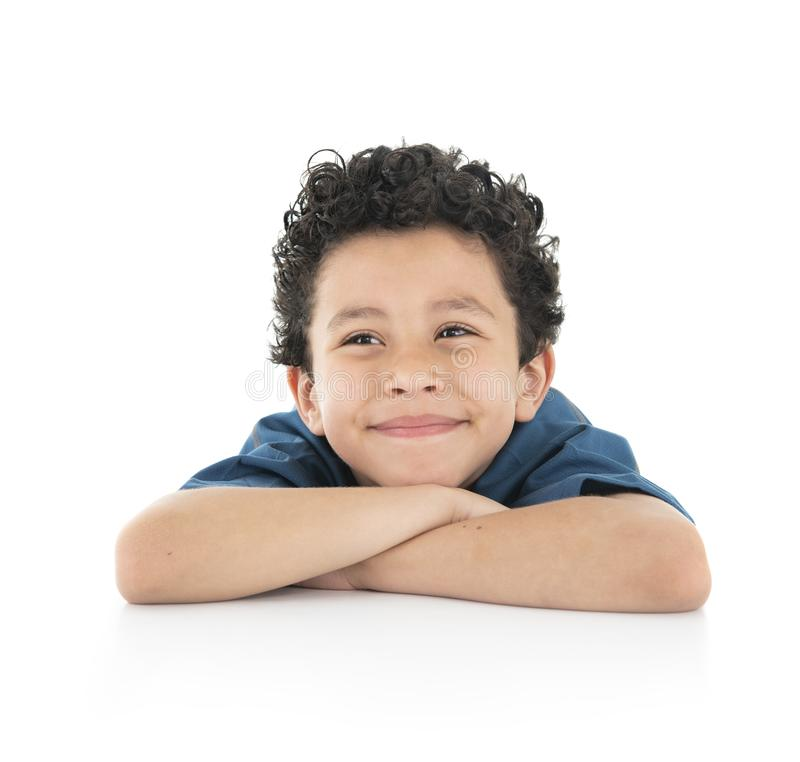Young Beautiful Portrait of a Bored Boy Looking Away Isolated on White Background stock images