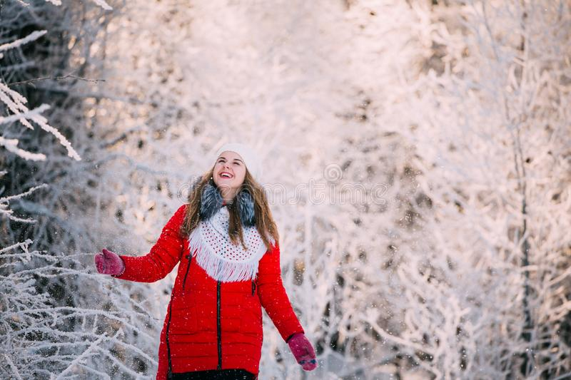 Young Beautiful Pretty Caucasian Girl Woman Dressed In Red Jacke stock photography