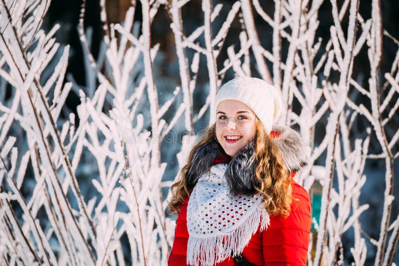 Young Beautiful Pretty Caucasian Girl Woman Dressed In Red Jacke stock images