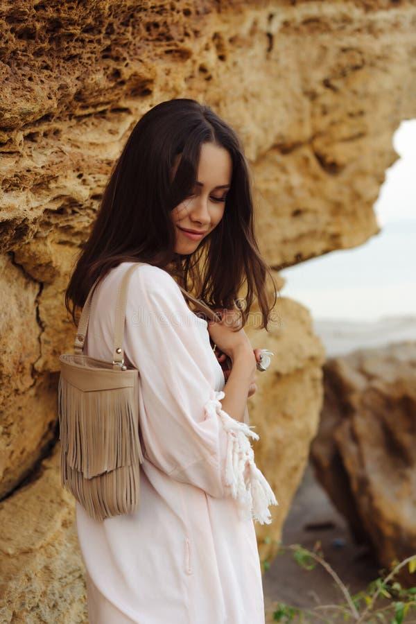 Young stylish girl wearing shorts and jacket royalty free stock images