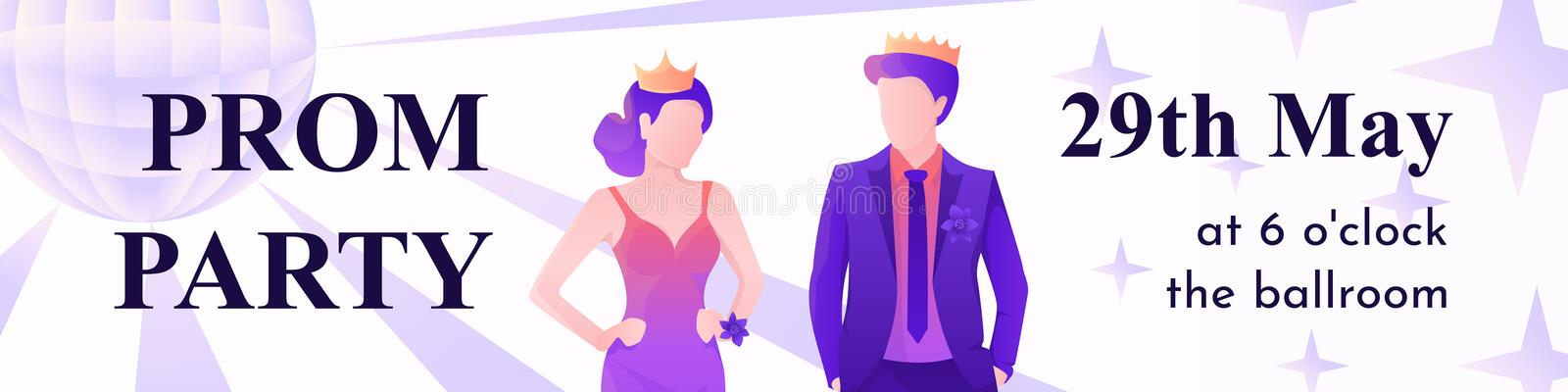 Young and beautiful prom king and queen royalty free illustration