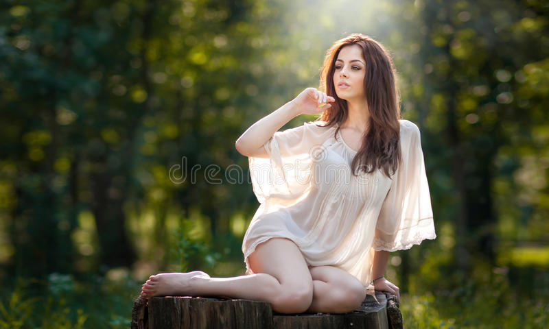 Young beautiful red hair woman wearing a transparent white blouse posing on a stump in a green forest. Fashionable girl. Young beautiful red hair woman wearing a stock image