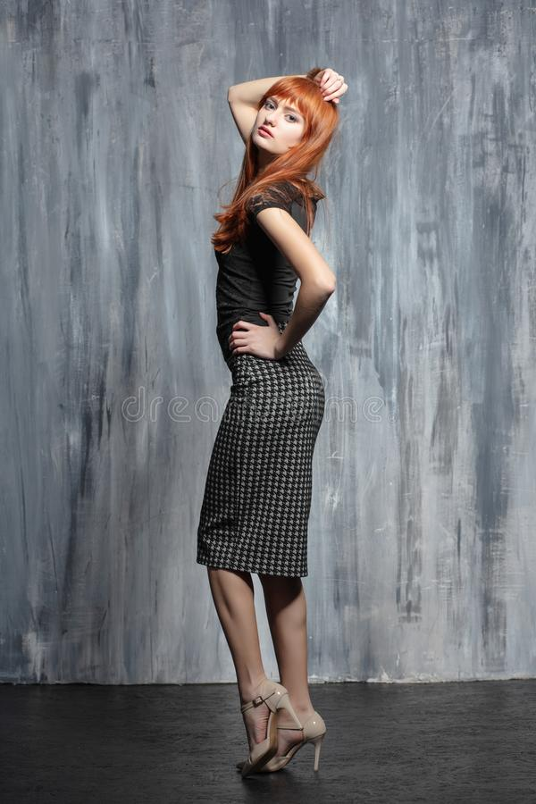 Free Young Beautiful Redhead Lady Posing In Studio Royalty Free Stock Photo - 162121045