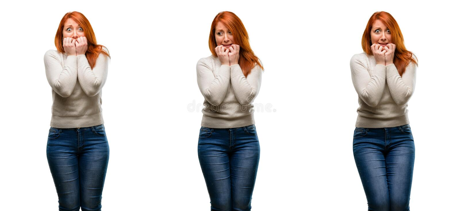 Young beautiful redhead woman isolated over white background royalty free stock photos