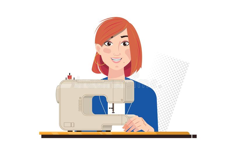 Young beautiful seamstress is working of cloth factory, isolated on white vector illustration. Seamstress working at tailor shop with electrical industrial vector illustration